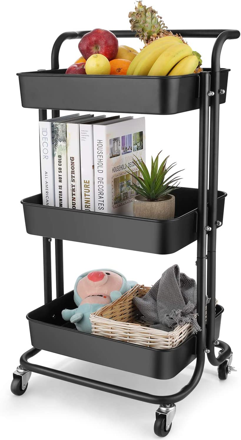 BATHWA 3-Tier Rolling Utility Cart Storage Shelves Multifunction Storage Trolley Service Cart with Mesh Basket Handles and Wheels Easy Assembly for Bathroom, Kitchen, Office (Black)