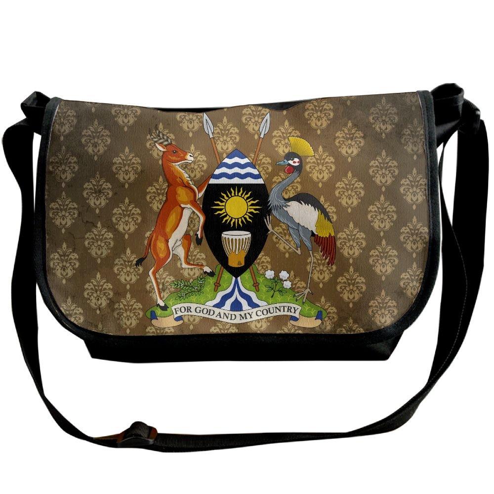 Lov6eoorheeb Unisex Coat Of Arms Of Uganda Wide Diagonal Shoulder Bag Adjustable Shoulder Tote Bag Single Shoulder Backpack For Work,School,Daily
