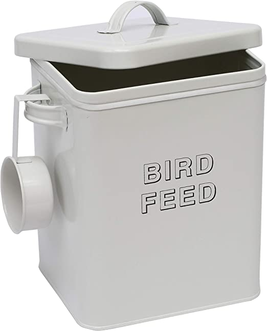 Morezi Bird Seed and Feed Storage tin with Seal lids and Scoop Included - White-Coated Carbon Steel - Storage Canister tins