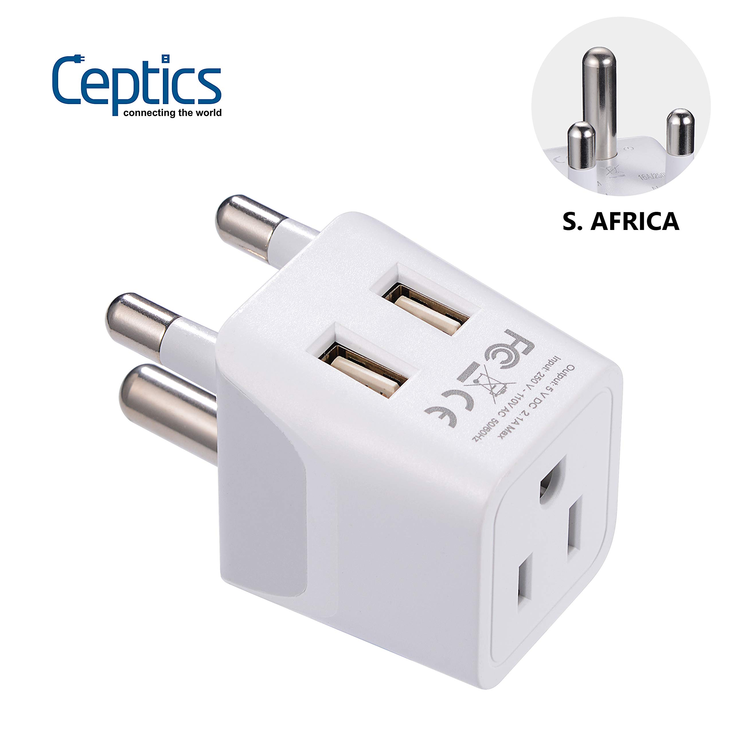 South Africa, Botswana Travel Adapter Plug by Ceptics With Dual USB + USA Input - Type M - Ultra Compact - Safe Grounded Perfect for Cell Phones, Laptops, Camera Chargers and More (CTU-10L)