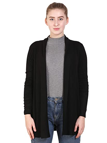 Buy MansiCollections Women's Black Longline Knit Solid Shrug