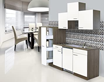 Miniküche Mit Kühlschrank 180 Cm : Respekta einbau mini single küche küchenblock cm eiche york