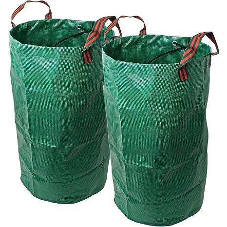 CampTeck 2X 120 litros Bolsa de Jardín para Residuos Polipropileno Resistente Saco de Jardín Reutilizable