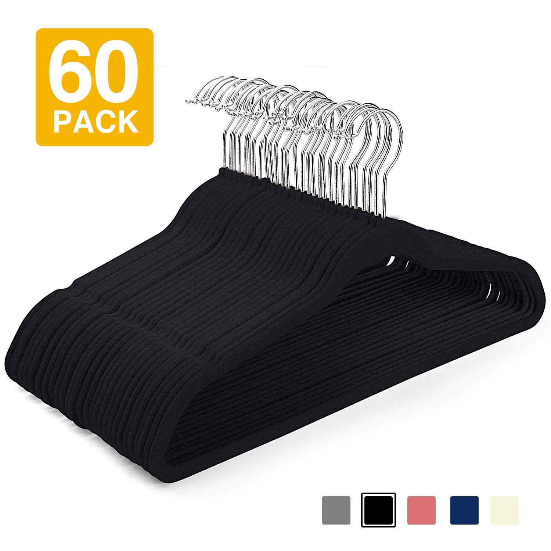 HOUSE DAY Velvet Hangers -60 Pack- Non Slip Velvet Suit Hangers Space Saving Clothes Hanger Velvet Hanger Heavy Duty Adult Hanger for Coat, Suit,Black