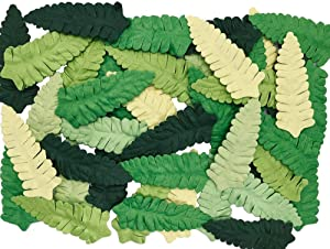 100 pcs Mixed Fern Paper Leaves 70x30mm Mulberry Paper Leaves Scrapbooking Wedding Doll House Supplies Card Artificial Leave