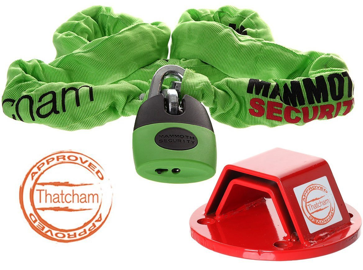 Thatcham Approved Device Chain Lock 1.8m and Thatcham Ground Anchor Motorcycle Motorbike Security Kit BIKEIT