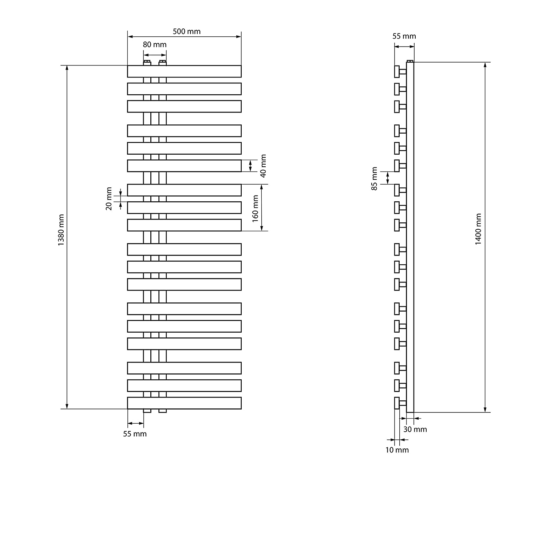 anthracite 500 x 1400 mm ECD Germany S/èche-serviettes Iron EM Design radiateur s/èche-serviettes