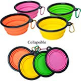Travel cup for Dog, Collapsible Pet bowl,Foldable Expandable dish for Pet Dog/Cat Food Water Feeding Portable Travel Bowl 4-Pack with Free Carabiner (Parent)