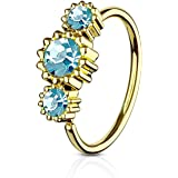 Covet Jewelry 3 Round CZ Set Gold IP Plated 316L Surgical Steel Hoop Ring for Nose & Ear Cartilage