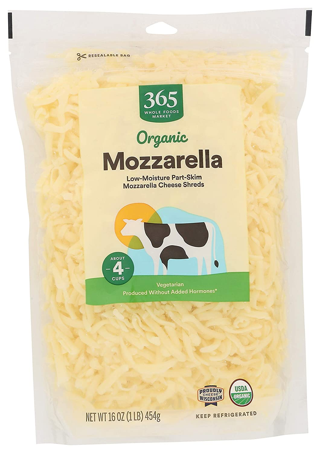365 by Whole Foods Market, Organic Cheese Shreds, Mozzarella, 16 Ounce