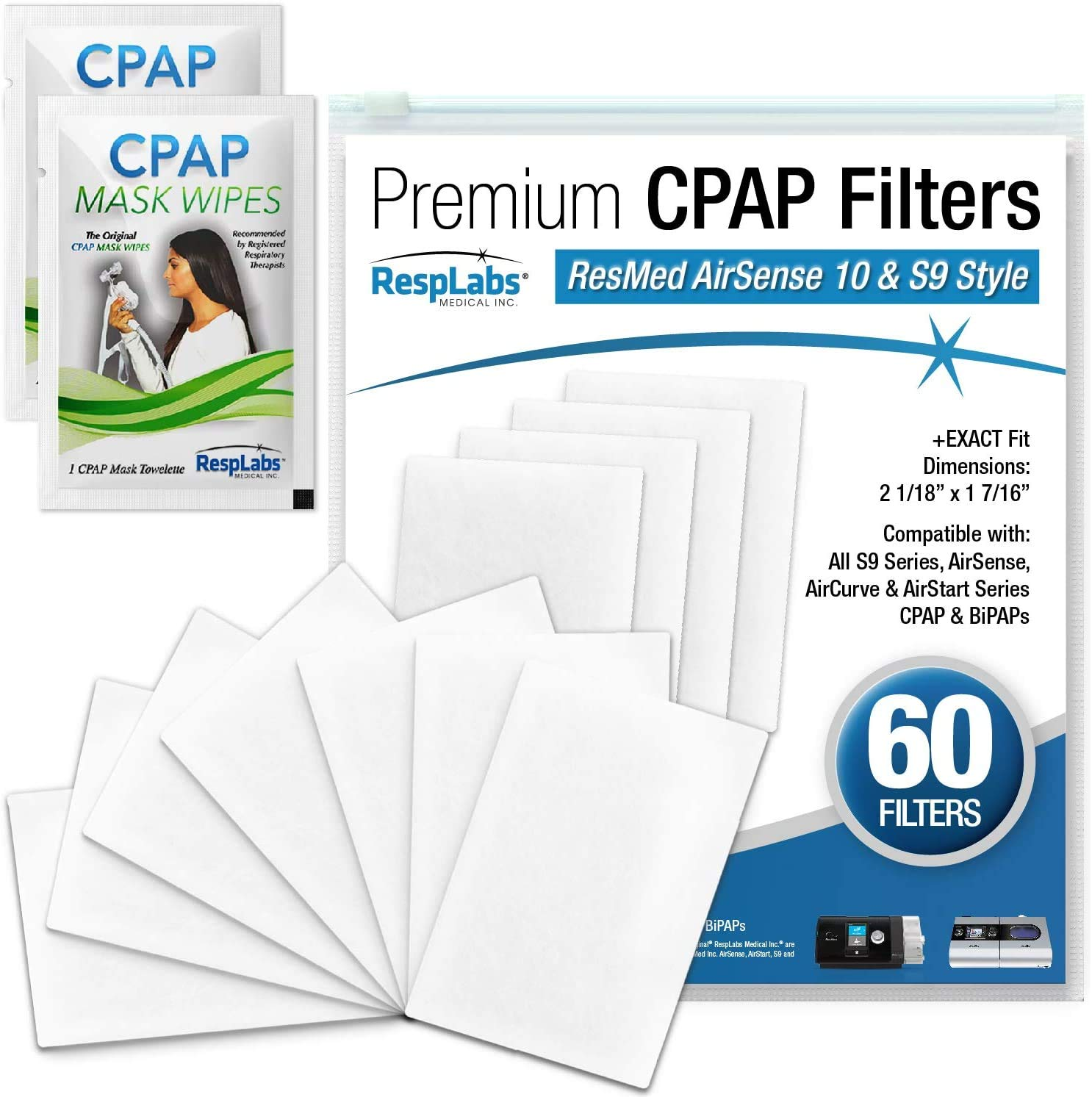 RespLabs CPAP Filters for The ResMed AirSense 10, S9 & AirCurve Machines - Dust Filtering, Dander Straining, Air Purifying. CPAP Machine Inlet Filtration - 60 Filter Pack