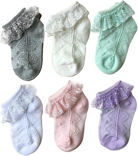 White NUOBESTY Baby Lace Short Socks Bow Newborn Socks Ruffle Frilly Mesh Ankle Socks For Kids Toddler Sleeping Walking Photo Props Size S