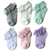 Baby Girls' Lace Socks QandSweet Eyelet Lace Ankle Sock for Newborn Infant and Toddlers (0-12M, 6 Colors)