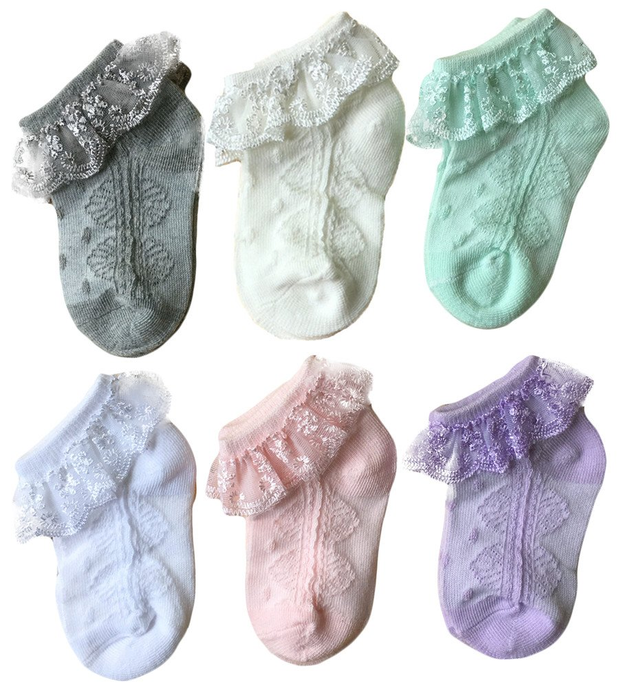 Baby Girls' Eyelet Lace Socks QandSweet Ankle Sock for Newborn Infant Toddlers (2-4T, 6 Colors)