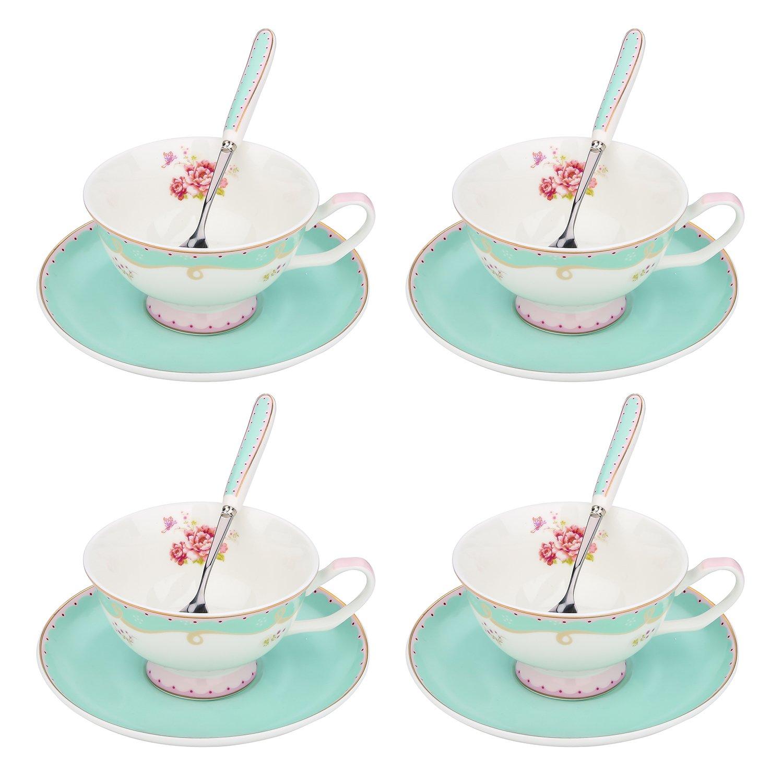 ARTVIGOR Tea Set New Bone China 6.8 Ounce / 200 Milliliter Espresso Coffee Cups with Matching Saucers, 37x10.5x35.5cm Light Green