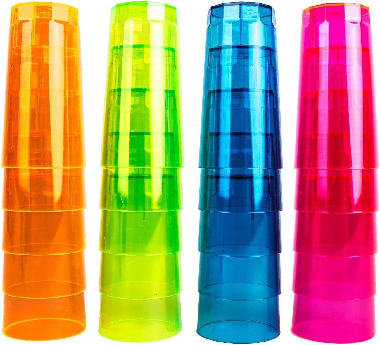 NEON STYLES - juego de vasos de tubo, 250 ml, 20 pcs en un juego, en cuatro colores fluorescentes-MIX - Rosa, Verde, Naranja y azul - brillant en luz del día - leuchten bajo luz negra más intensos y m
