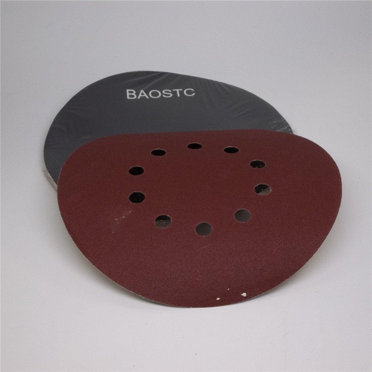 BAOSTC 8 7//8 10 holes P180 hook and loop abrasive disc for drywall sander10PACK