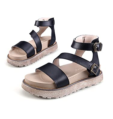 2eef5ec90b21 Ecollection Womens Leather Roman Flat Flatform Sandals Ankle Strap Comfy  Summer Holiday Shoes  Amazon.co.uk  Shoes   Bags