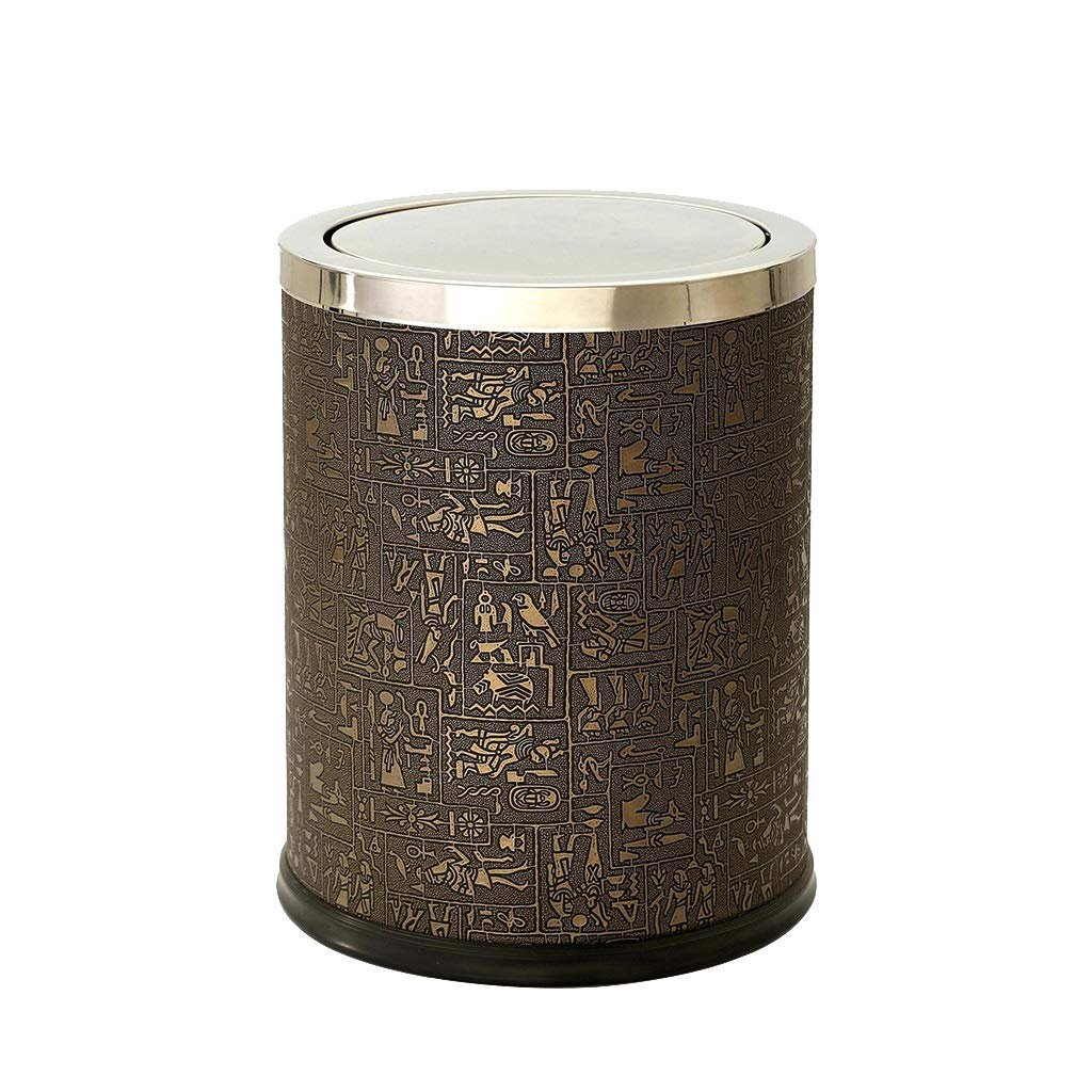 Wghfwx Stainless Steel Shake Trash Can Swing Garbage Bin Household Waste Bin Egyptian Leather Text 12L, Office Hotel Living Room Sanitary Bucket