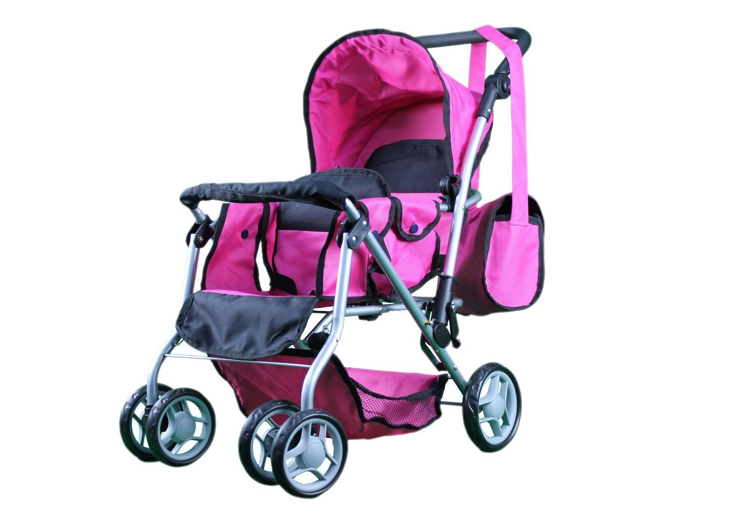 Mommy & Me TWIN Doll Pram Back to Back with Swiveling Wheels & Free Carriage Bag - 9668 9651-B-2