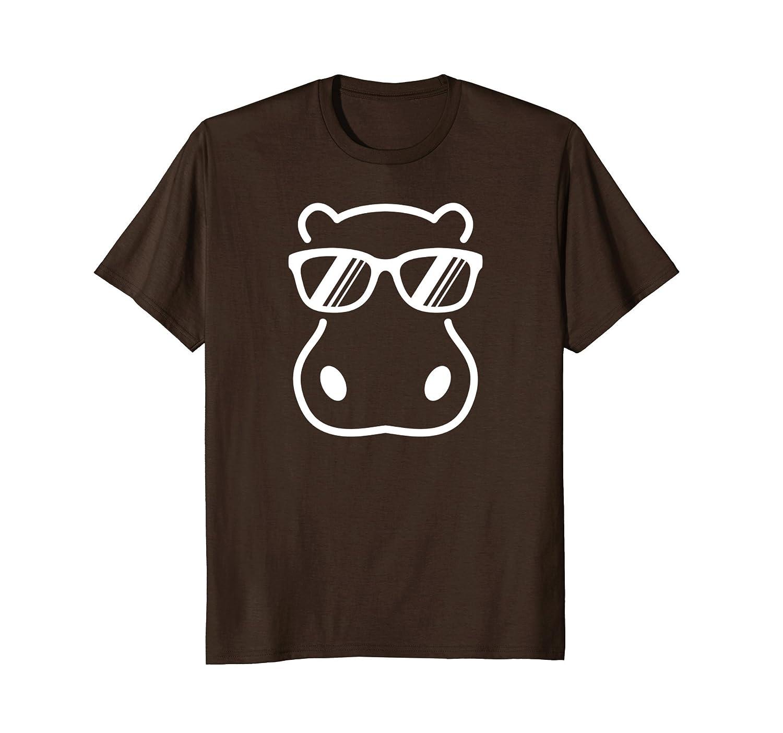Cute Hippopotamus Wearing Sunglasses Graphic T-Shirt-AZP
