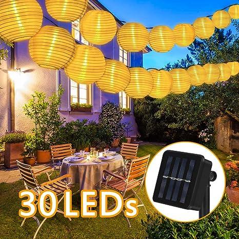 Guirnalda de farolillos solares para Exteriores, Nasharia 6,5M 30 farolillos LED, IP65 esistente al Agua, iluminación Solar para Exteriores, jardín, Patio, Boda, decoración Festiva (Blanco cálido): Amazon.es: Iluminación