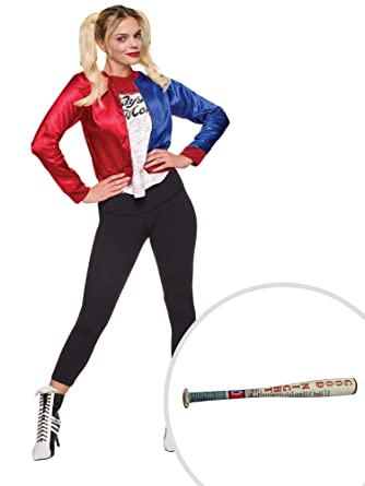 9d2c3225f487 Amazon.com  Suicide Squad Harley Quinn Costume Kit Adult Small with Bat   Clothing