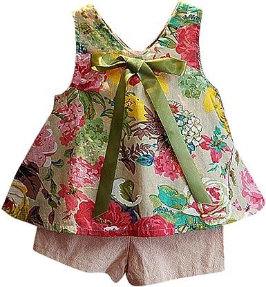 Switchali Vestidos niñas, Niños Bebé Niña Verano Moda Blusas Chaleco Floral Camisa + Bowknot Pantalones Cortos Conjunto de Ropa de Fiesta para Chica Casual Linda Blusa: Amazon.es: Ropa y accesorios