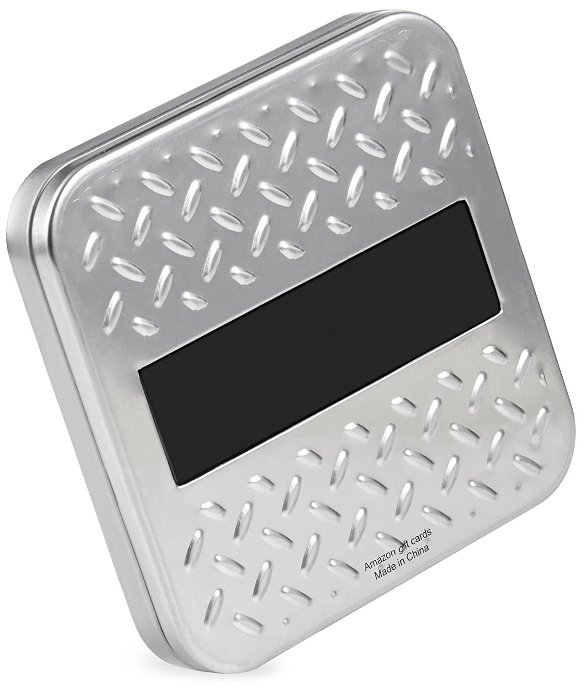 Classic Black Card Design .com Gift Card in a Diamond Plate Tin