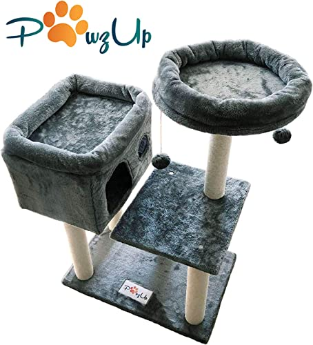 PawzUp Premium Cat Condo Cozy Activity Tower Fun Play House for Cats and Kittens Sisal-Covered Scratching Posts Plush Perch and Play Balls