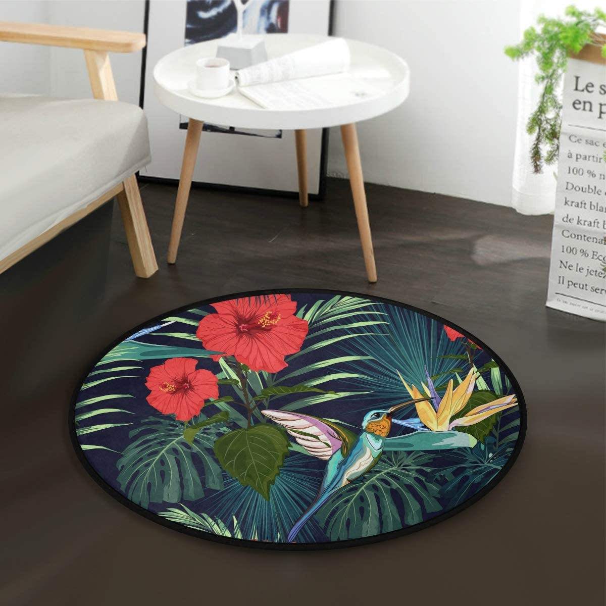 ALAZA Summer Hummingbird Exotic Orchid Flower Palm Tree Round Area Rug for Living Room Bedroom 3 Diameter 92 cm