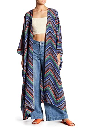 1837fabf724 Free People Women s Mojave Kimono Robe Blue Combo Large at Amazon ...