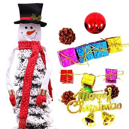 Christmas Top Hat Ornaments.Amazon Com Pinnaclet1 Christmas Tree Topper Snowman Hugger