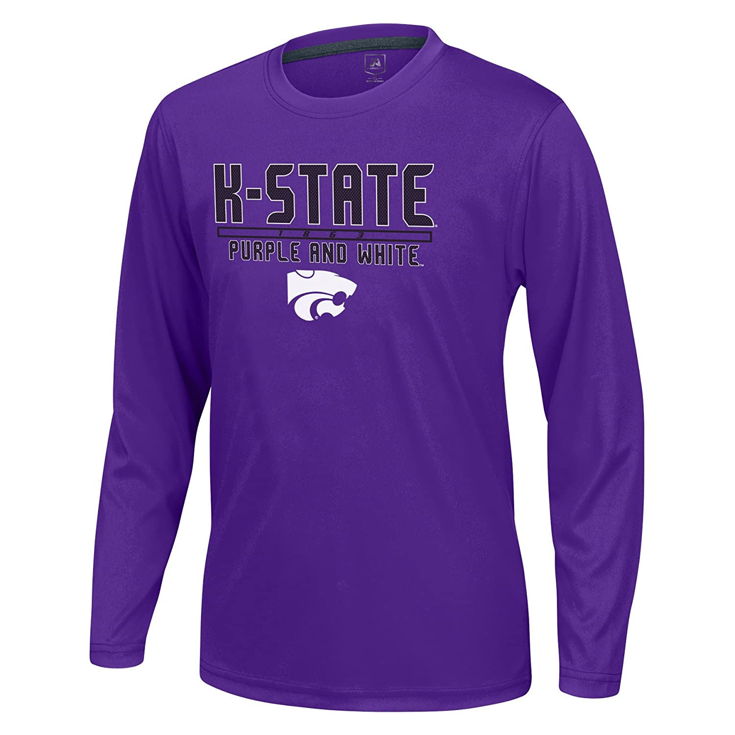 Purple X-Large J America NCAA Kansas State Wildcats Boys Youth School Slogan Long Sleeve Callout Poly Tee