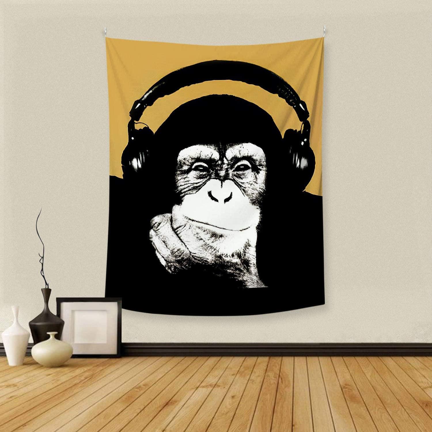 BOOPBEEP Men Wall Tapestry for Bedroom Decor, Music Banksy Headphone Monkey Theme Yellow Polyester Tapestries Wall Hanging with Soft Comfort/No-Fading for Dorm, Livingroom Decor (40 x60Inch)