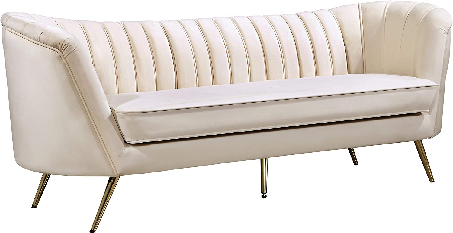 "Meridian Furniture Margo Collection Modern | Contemporary Velvet Upholstered Sofa with Deep Channel Tufting and Rich Gold Stainless Steel Legs, Cream, 88"" W x 30"" D x 33"" H"