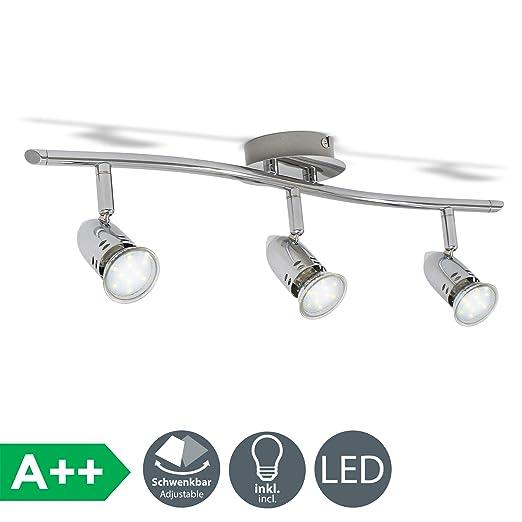 Lámpara de techo moderna con focos giratorios y orientable incl. 3x3W LED bombillas GU10 230V, Luz blanco cálido 3000K, Color cromo