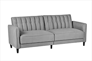 """Container Furniture Direct Charlotte Mid Century Modern Tufted Convertible Sleeper Sofa, 81"""", Grey"""