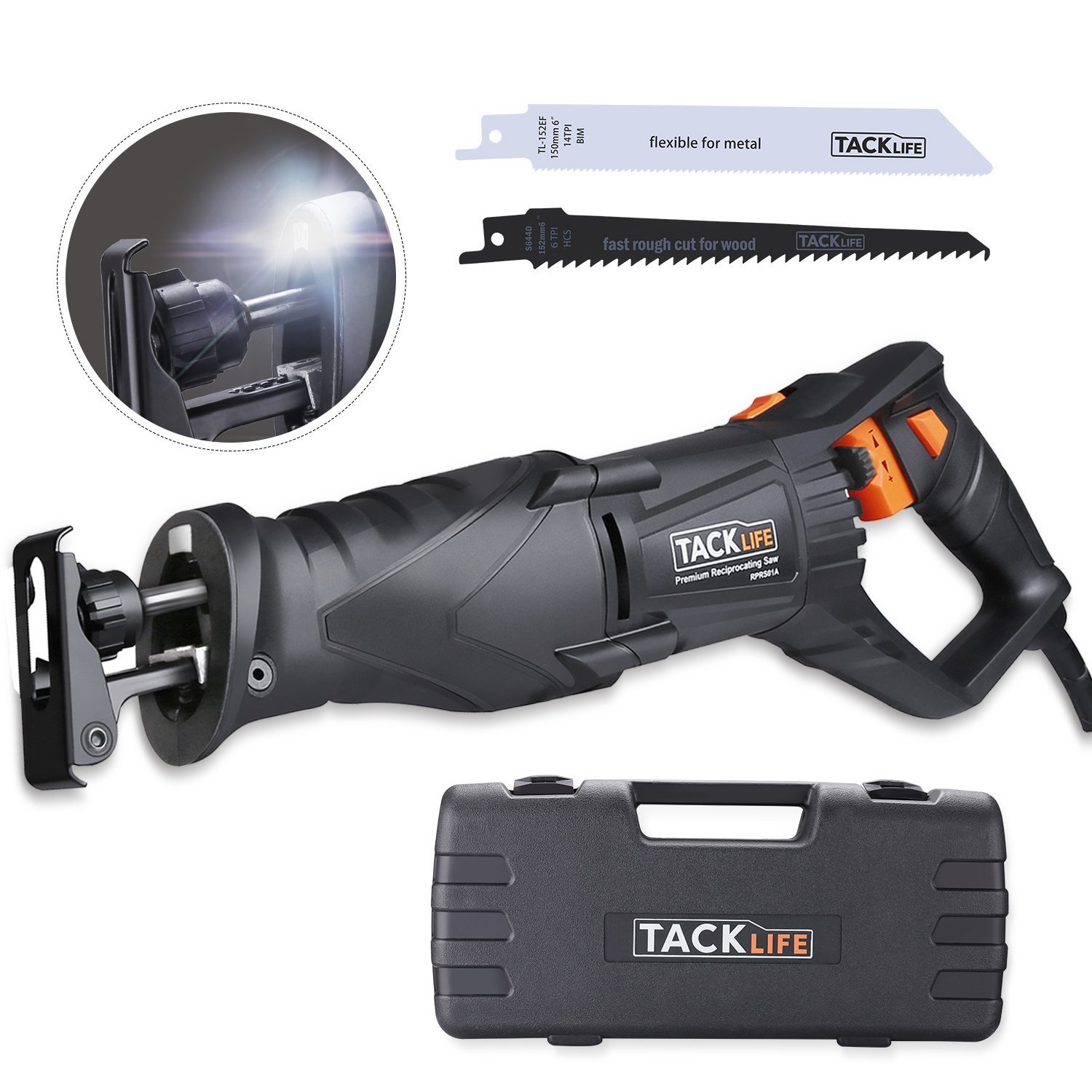 """TACKLIFE Classic Reciprocating Saw, 2800SPM 1-1/8""""(28mm) Stroke Length Electric Saw with Rotating Handle, Variable Speed, 10feet(3M) Cable, 2 LED, Extra 2 Blades, Carrying Case, Ideal for DIY"""