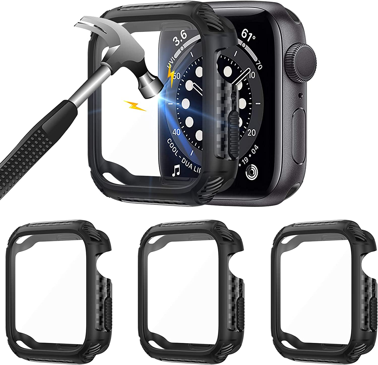 Liwin 3-Pack Case Compatible with Apple Watch SE/Series 6 / Series 5 / Series 4 40mm with Tempered Glass Screen Protector, Full Protective Cover TPU Bumper Accessories Compatible with iWatch 40mm
