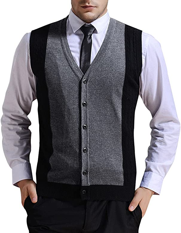 Moren Mens Wool V-Neck Sleeveless Jumpers Vest Casual Business Gentleman Knitwear Knitted Gilets Sweater Cardigans Tank Tops