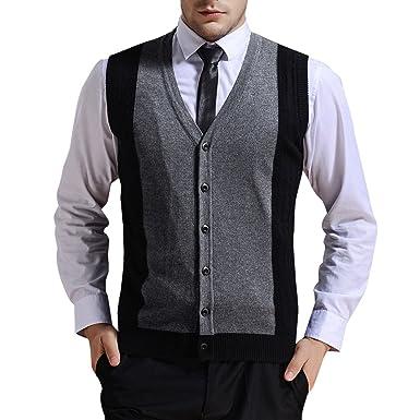 Mens Cardigans Sweater V-Neck Sleeveless Button Vest Business Gentleman Knitwear Knitted Waistcoat Tank Tops