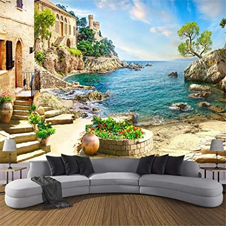 XZDXR Custom 3D foto Castillo jardín pared del mar pintura salón sofá dormitorio decoración De la pared Mural Papel De pared 3D,110 * 280CM: Amazon.es: Bebé