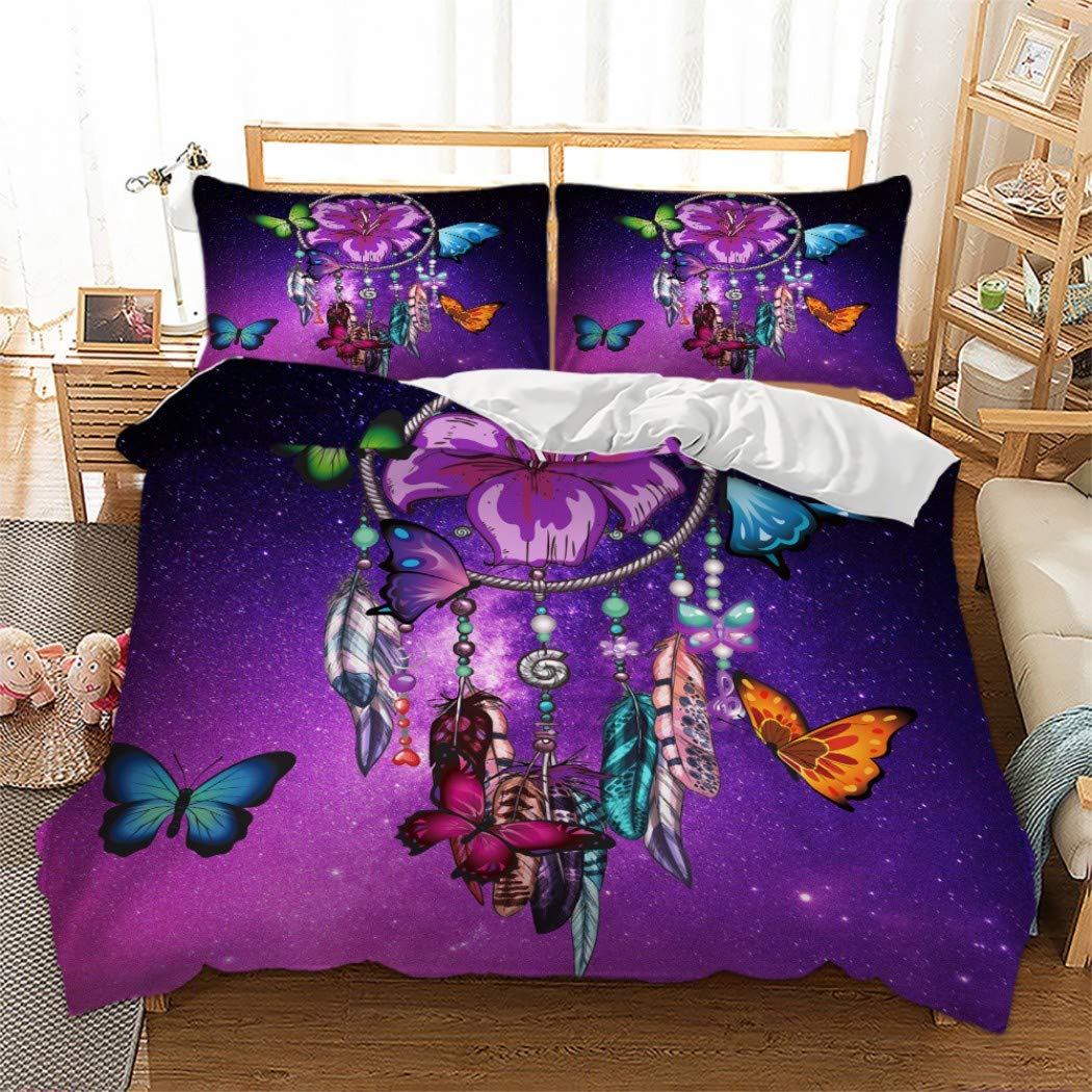 MOUMOUHOME Blue-Violet Starry Sky Purple Flowers Colorful Butterflies Feather Dreamcatcher Bedspread 3D Print Twin Size Bedding Sets for Girls and Women No Comforter