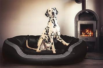 tierlando PEPPER Ortopédico Sofá para perro en Piel artificial 13cm potente Colchón VISCOSO Borde acogedor XXL Negro 135cm XL Anti-pelo Forma estable: ...
