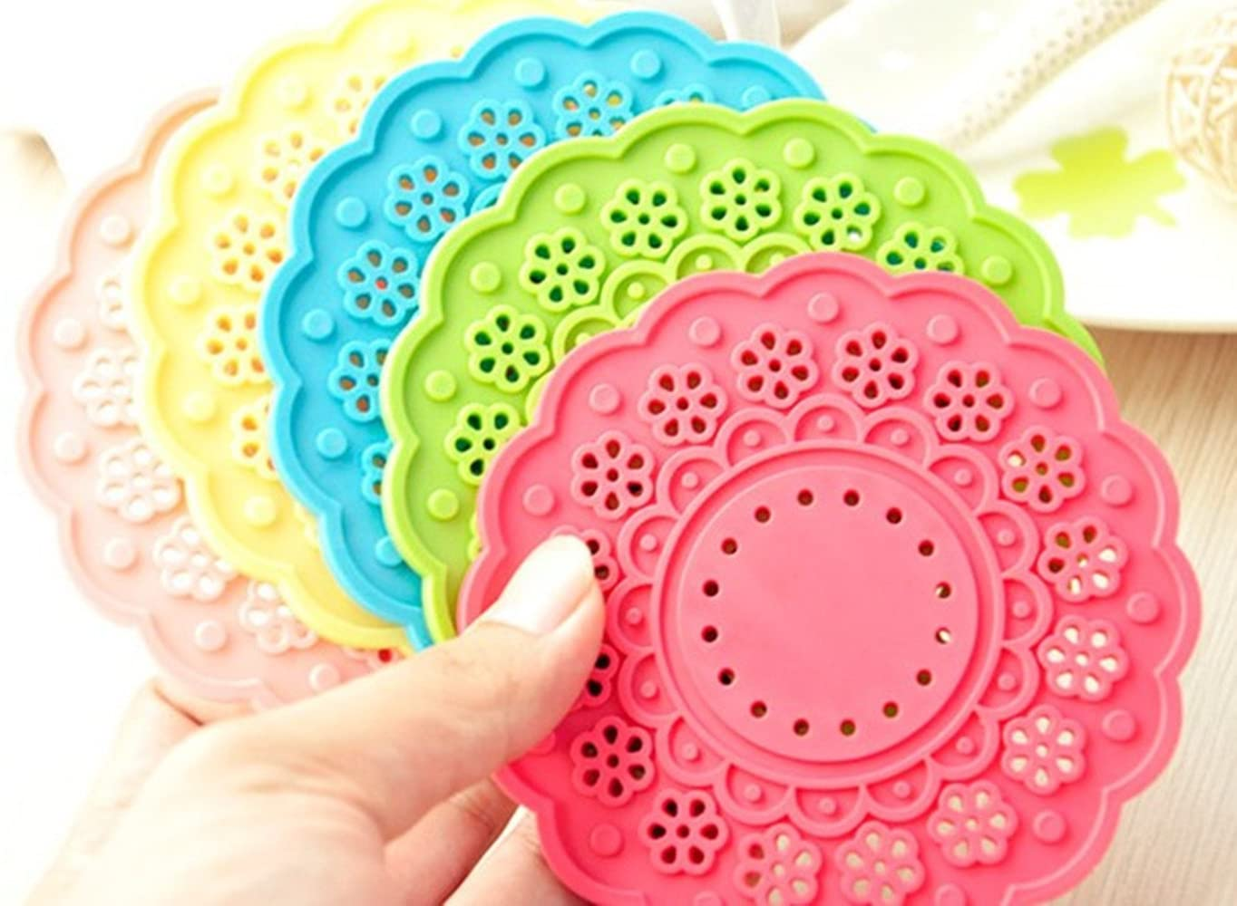 6 Pack MBODM Lace Silicone Coffee /& Tea Cup Mat Non-Slip Heat Resistant Silicone Coaster Kitchen
