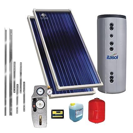 Kit solar térmico a Circulación soldada de 300 litros para tejado a falda – detrazione Fiscale