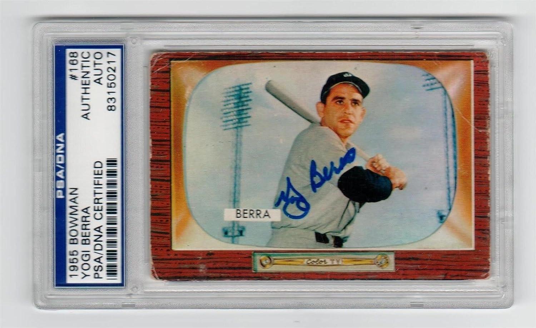 Yogi Berra Signed 1955 Bowman Baseball Card Psadna 168 At Amazons