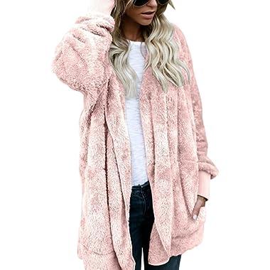 ThusFar Womens Fuzzy Open Front Sherpa Hooded Cardigan Jacket Coat Outwear Pocket