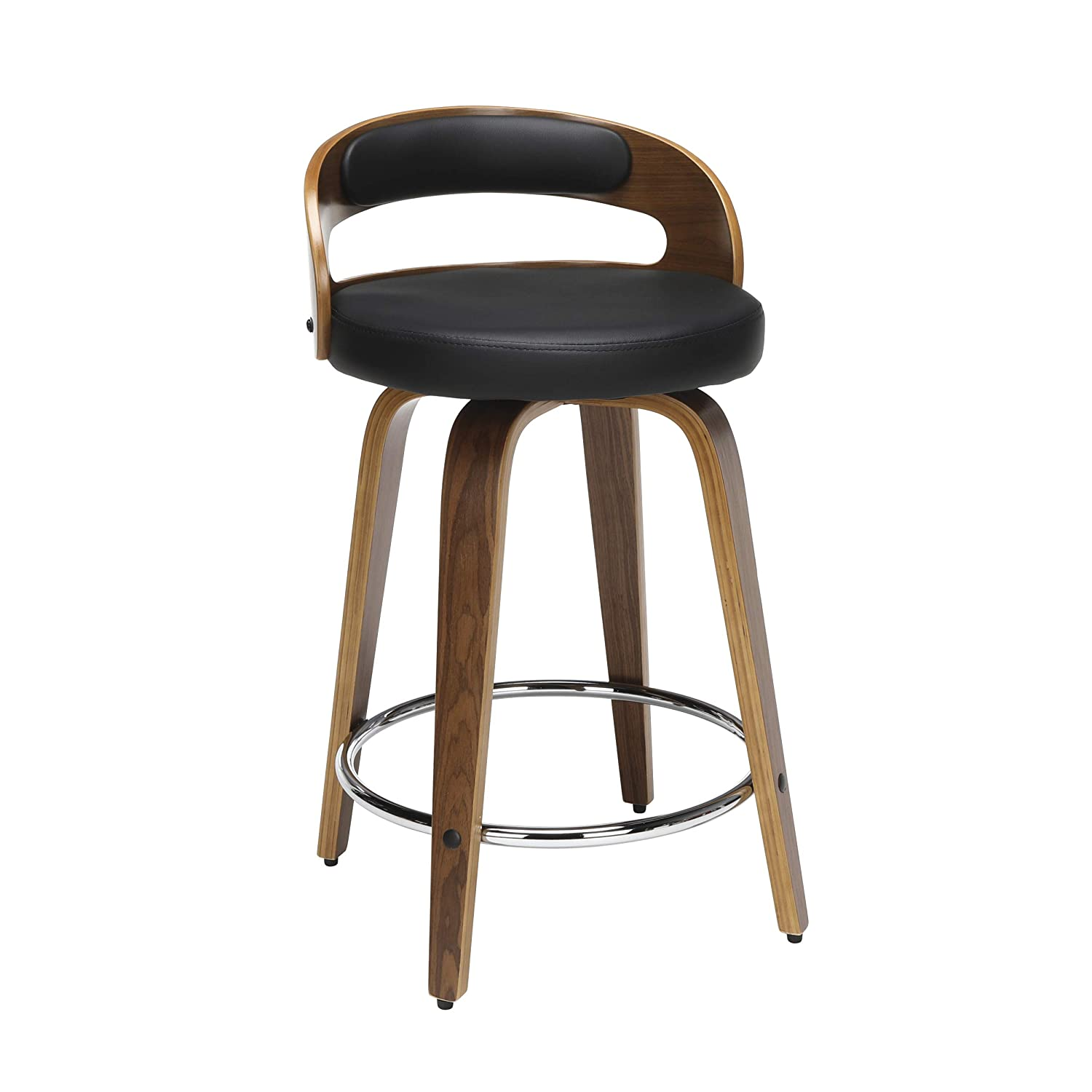 Amazing Ofm 161 Collection Mid Century Modern 24 Low Back Bentwood Frame Swivel Seat Stool With Vinyl Back And Seat Cushion In Walnut Black 161 Wv24C Blk Unemploymentrelief Wooden Chair Designs For Living Room Unemploymentrelieforg